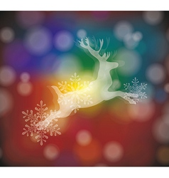 christmas card with stylized white deer vector image