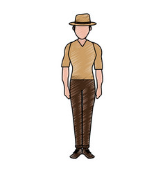 Color pencil silhouette full body faceless vector