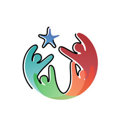 colorful human icon symbol with star vector image