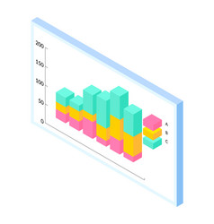 colorful surround bar chart with data statistics vector image