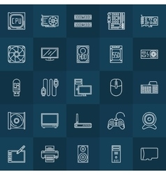 Computer components linear icons vector
