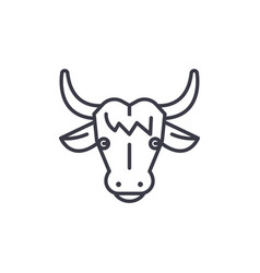 Cow head line icon sign on vector