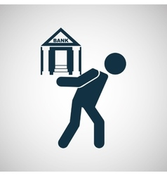 Crisis economy bank concept icon design vector