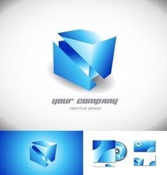 Cube 3d logo design blue icon vector image
