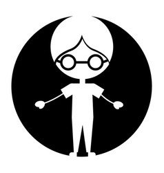 Cute boy with glasses character icon vector