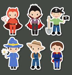 Cute cartoon children in colorful halloween vector