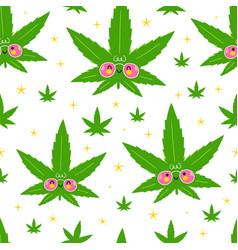 cute funny happy weed marijuana leafs and stars vector image