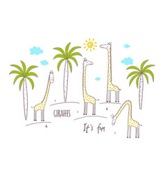 Cute giraffes and palm trees vector