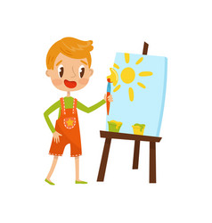 Cute little boy painting sun on an easel kids vector
