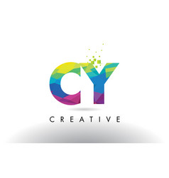 cy c y colorful letter origami triangles design vector image
