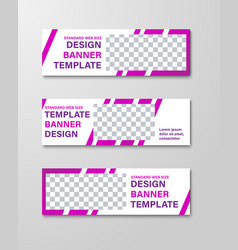 design of horizontal white web banners with vector image