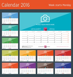 Desk Calendar 2016 Print Template Week Starts vector image