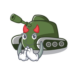 Devil tank mascot cartoon style vector