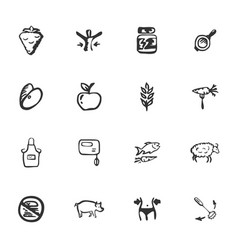 doodle fitnes icons set vector image
