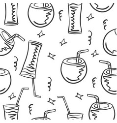 Drink theme doodles vector