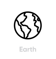earth flat icon editable outline vector image