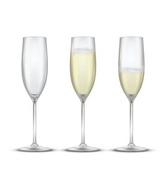 elegant glasses with champagne realistic vector image