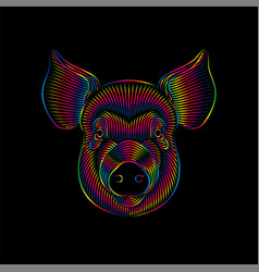 Engraving stylized psychedelic pig portrait vector