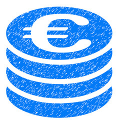Euro coin stack grunge icon vector