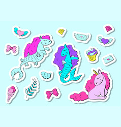 fashion stickers set in 80s-90s pop style unicorn vector image