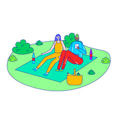 Female companion picnic on outdoor garden field vector