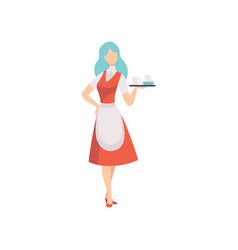 female waitress character wearing apron standing vector image