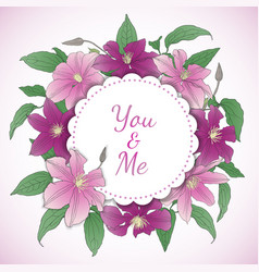 floral wreath with clematis flowers vector image