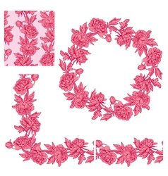 Flower frame pink 1 380 vector