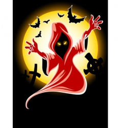 Frightful Halloween midnight ghost vector