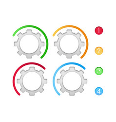 gears with color line infographic elements set vector image