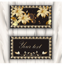 greeting card with gold 3d flowers and vintage vector image