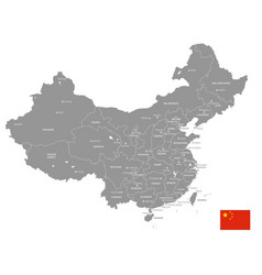 Grey political map china vector