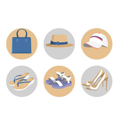 Handbag and hats vogue shoes set colorful card vector