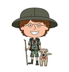 Happy boy scout with his fluffy dog vector image