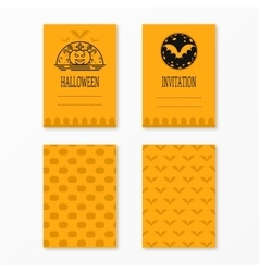 Happy halloween invitations set templates with vector image