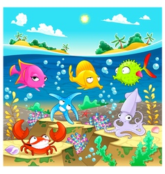 Happy marine family under the sea vector