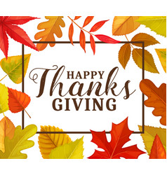 happy thanks giving greeting card frame vector image