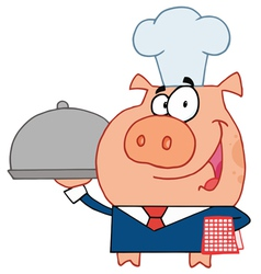 Happy Waiter Pig In A Chefs Hat vector