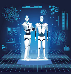 Humanoid robots avatars vector