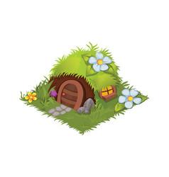 Isometric cartoon fantasy hobbit village house vector