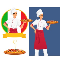 Italian tasty pizza and man chef vector