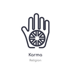 Karma outline icon isolated line from religion vector