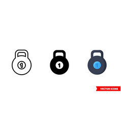 kettlebell icon 3 types isolated sign vector image