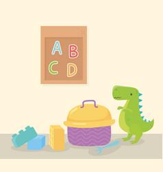 Kids toys object amusing cartoon dinosaur blocks vector