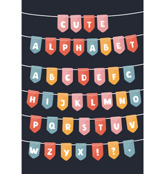 latin alphabet flags parties vector image
