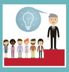Leadership concept - leader stands on the podium vector