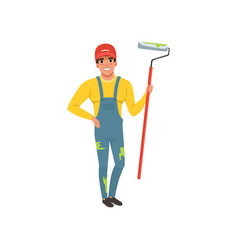 Male painter in uniform with roller paint house vector