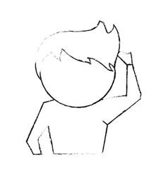 man confused cartoon vector image