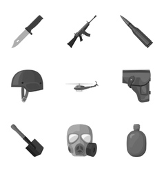 Military and army set icons in monochrome style vector