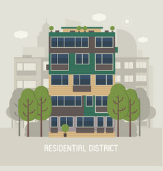 Modern house in residential district vector